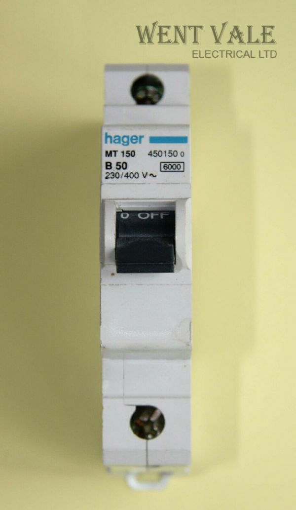 Hager MT150 - 50a Type B Single Pole MCB Used
